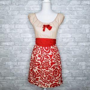 Baraschi Bow Front Flower Patterned Midi Dress - 4
